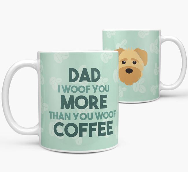 'Dad I woof you more than you woof coffee' Mug with Schnoodle Icon