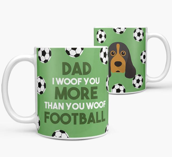 'Dad I woof you more than you woof football' Mug with American Cocker Spaniel icon