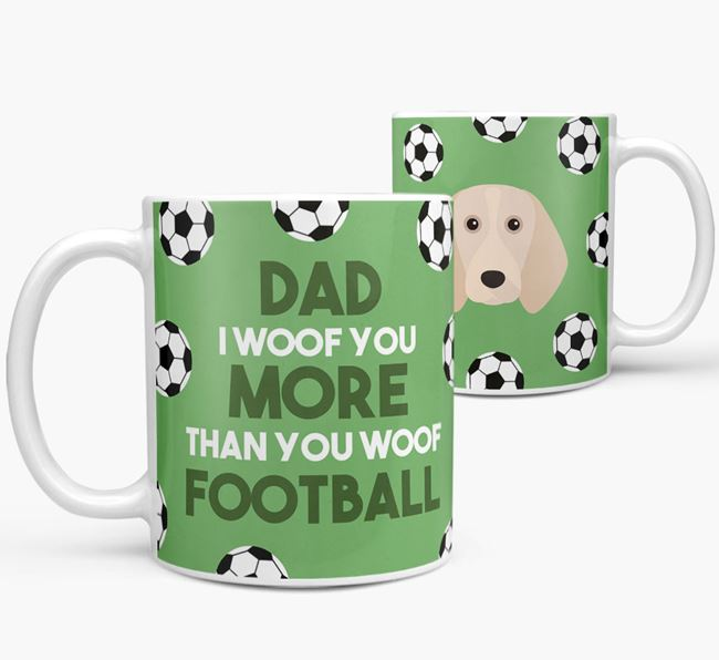 'Dad I woof you more than you woof football' Mug with Beagle icon