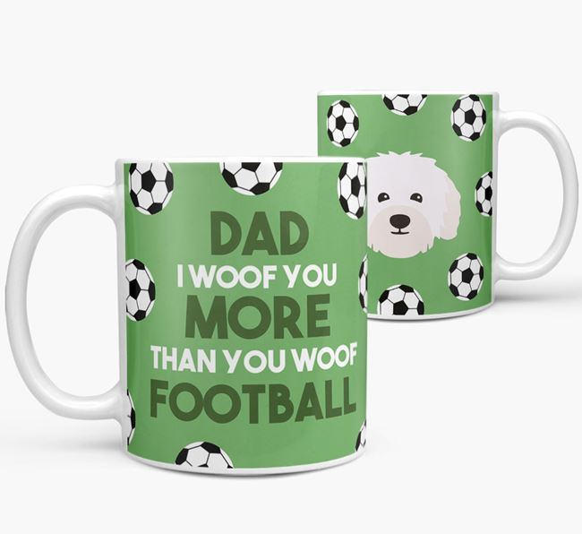 'Dad I woof you more than you woof football' Mug with Bolognese icon