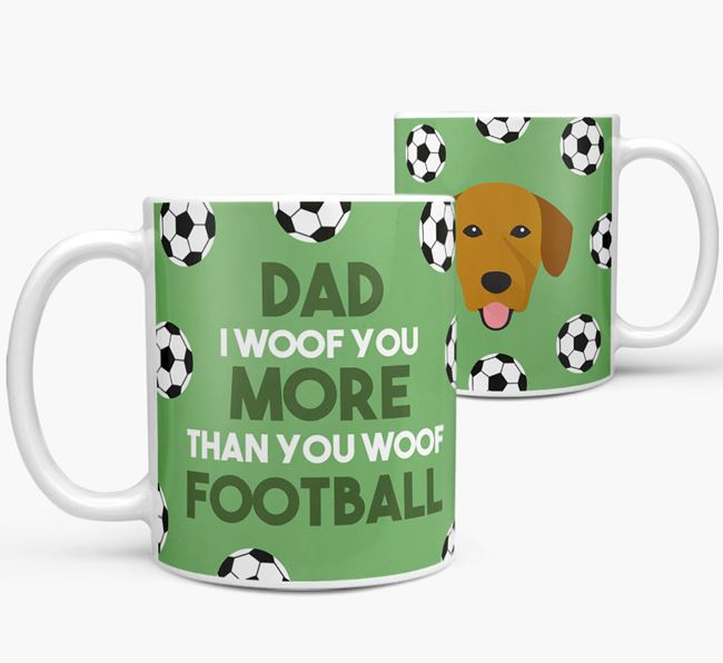 'Dad I woof you more than you woof football' Mug with Springador icon