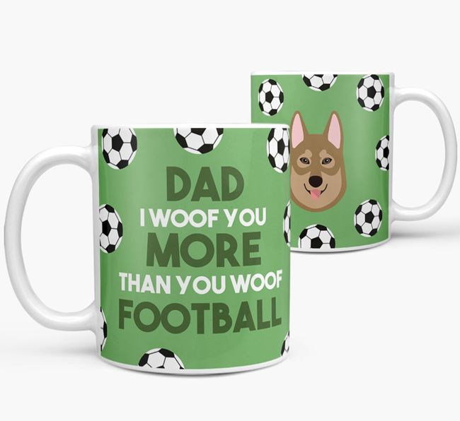 'Dad I woof you more than you woof football' Mug with Tamaskan icon