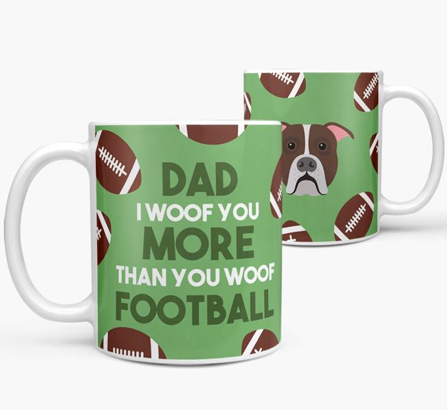 'Dad I woof you more than you woof football' Mug with American Bulldog icon