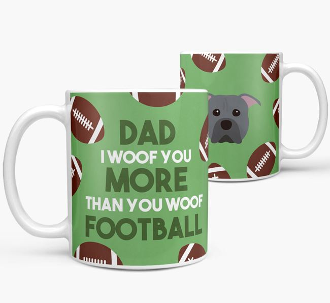 'Dad I woof you more than you woof football' Mug with American Pit Bull Terrier icon