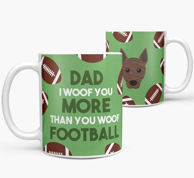 'Dad I woof you more than you woof football' Mug with Basenji icon