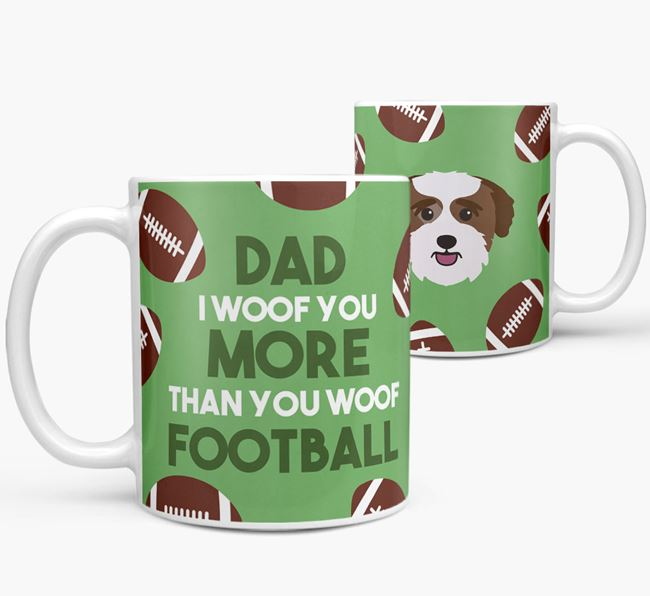 'Dad I woof you more than you woof football' Mug with Bichon Yorkie icon