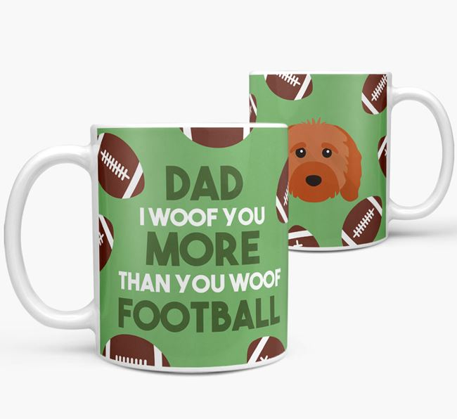 'Dad I woof you more than you woof football' Mug with Cavapoo icon