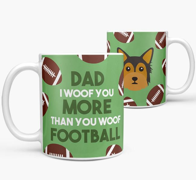 'Dad I woof you more than you woof football' Mug with Chorkie icon