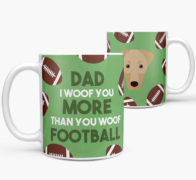 'Dad I woof you more than you woof football' Mug with Dobermann icon