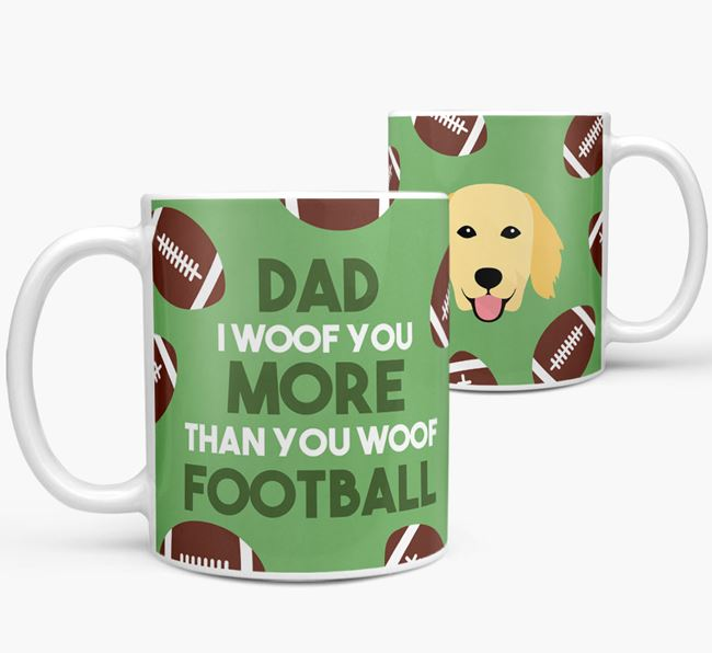 'Dad I woof you more than you woof football' Mug with Flat-Coated Retriever icon