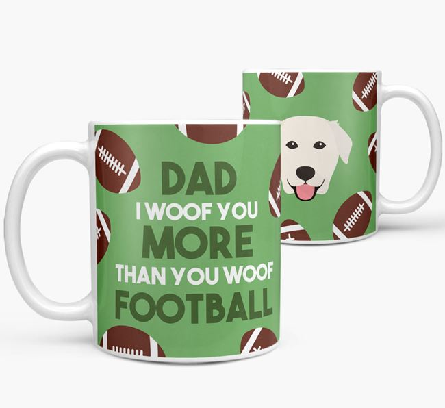 'Dad I woof you more than you woof football' Mug with Golden Labrador icon