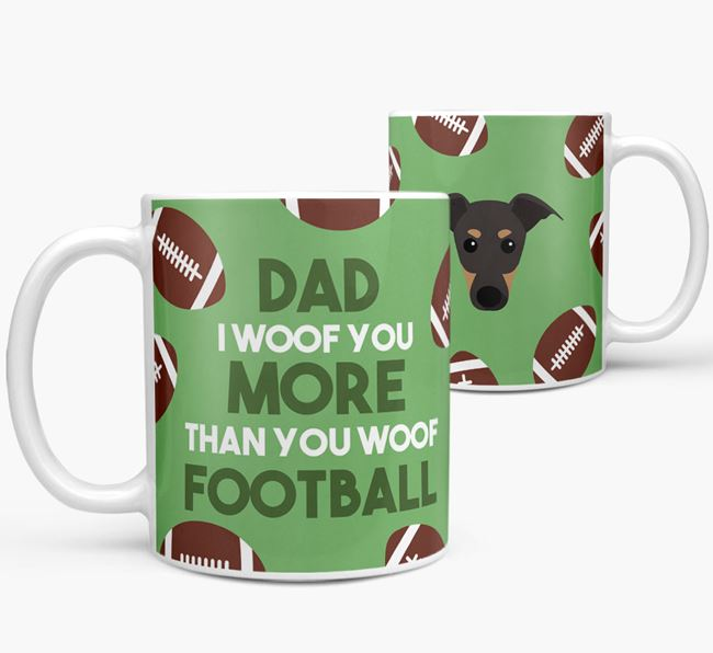 'Dad I woof you more than you woof football' Mug with Greyhound icon