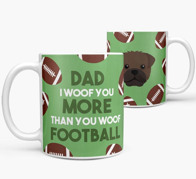 'Dad I woof you more than you woof football' Mug with Mixed Breed icon