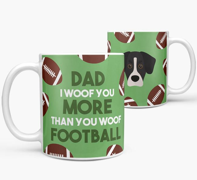 'Dad I woof you more than you woof football' Mug with Siberian Cocker icon