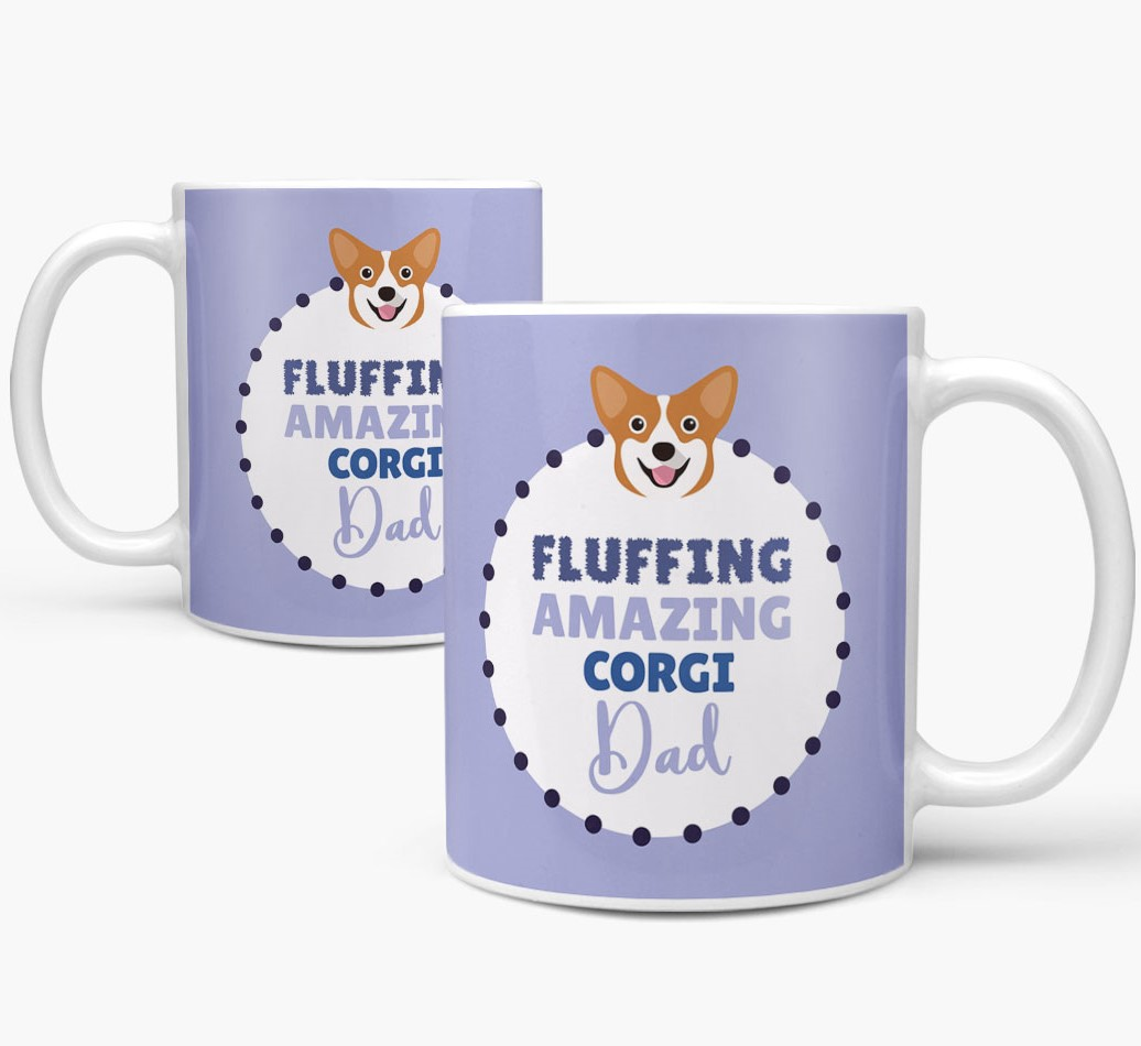 'Fluffing Amazing Dog Dad' Mug with Corgi Icon Mug both views