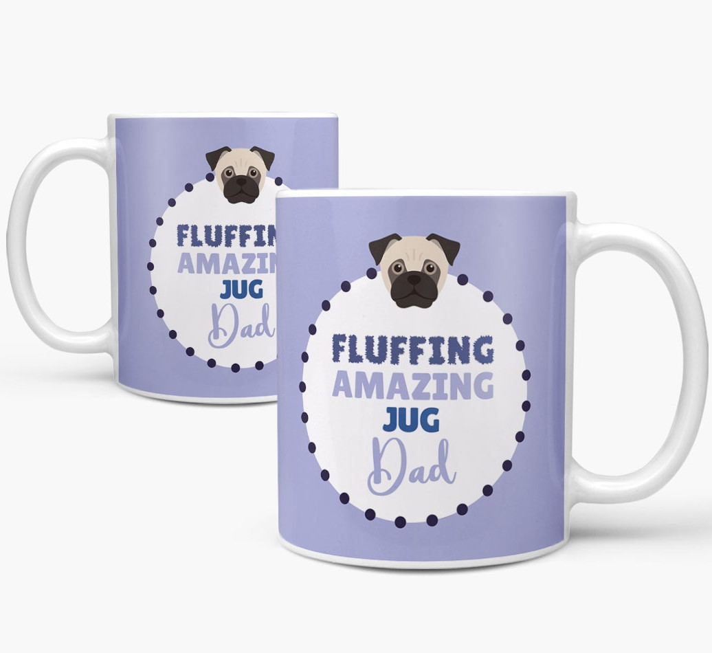 'Fluffing Amazing Dog Dad' Mug with Jug Icon Mug both views