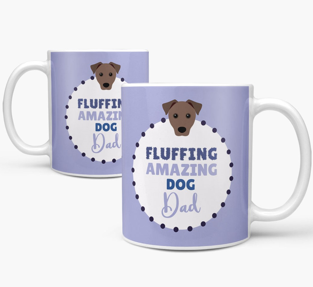 'Fluffing Amazing Dog Dad' Mug with Mixed Breed Icon Mug both views