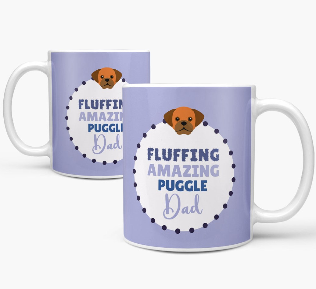 'Fluffing Amazing Dog Dad' Mug with Puggle Icon Mug both views