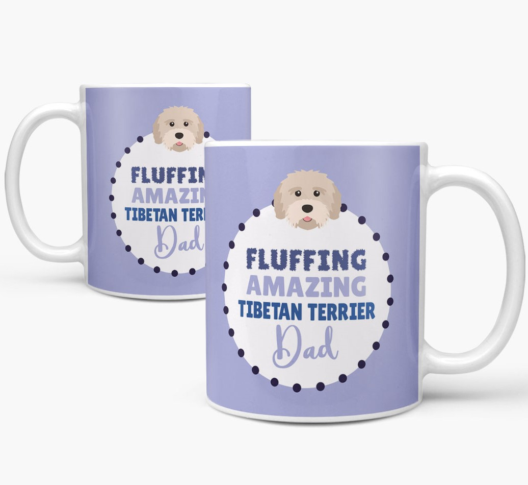 'Fluffing Amazing Dog Dad' Mug with Tibetan Terrier Icon Mug both views