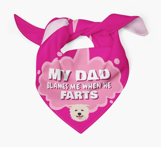 'My Dad blames me when he farts' Bandana with Glen Of Imaal Terrier Icon