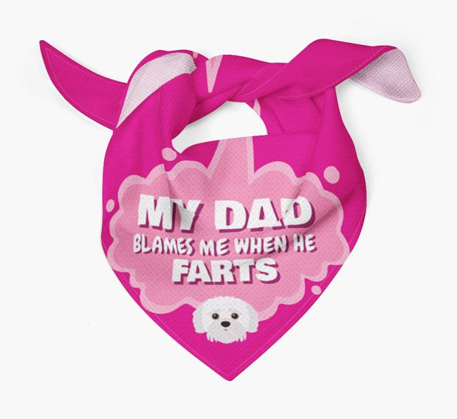 'My Dad blames me when he farts' Bandana with Jack-A-Poo Icon