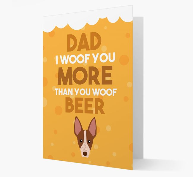 'Woof you more than you woof Beer' Card with American Hairless Terrier Icon