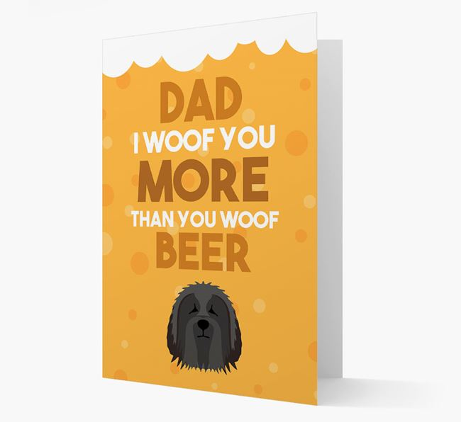 'Woof you more than you woof Beer' Card with Bearded Collie Icon