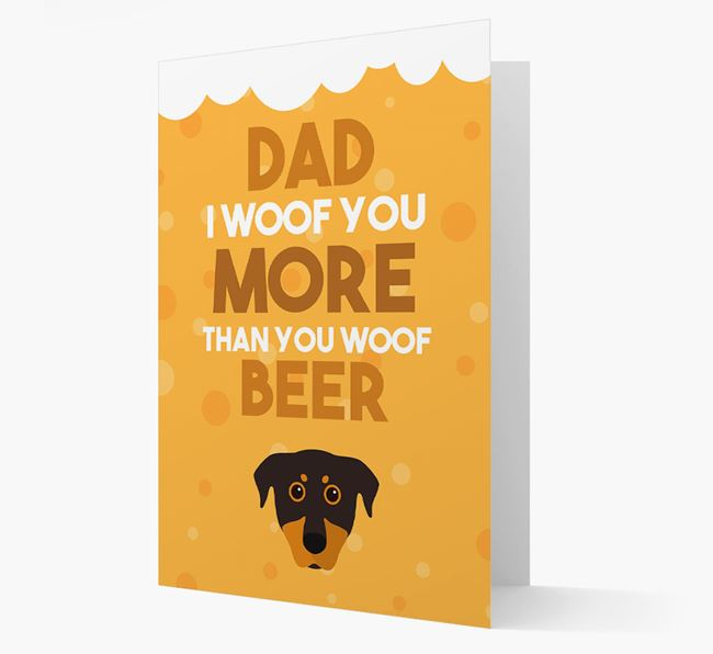 'Woof you more than you woof Beer' Card with Beauceron Icon