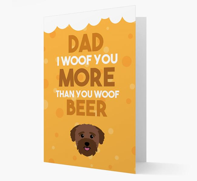 'Woof you more than you woof Beer' Card with Bichon Yorkie Icon