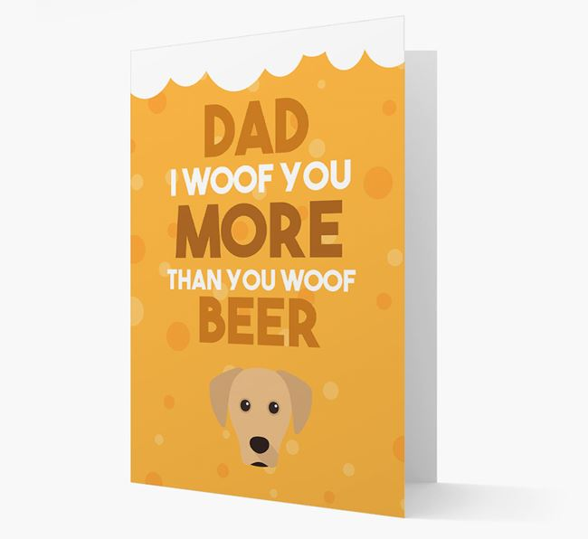 'Woof you more than you woof Beer' Card with Blue Lacy Icon