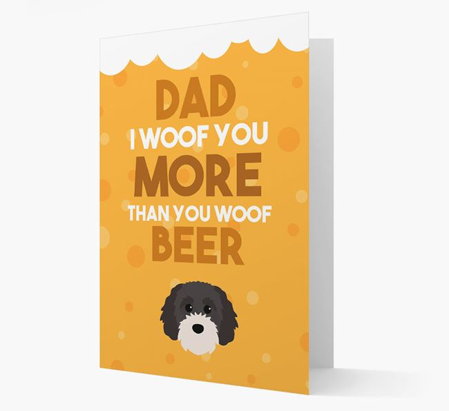'Woof you more than you woof Beer' Card with Cavapoochon Icon