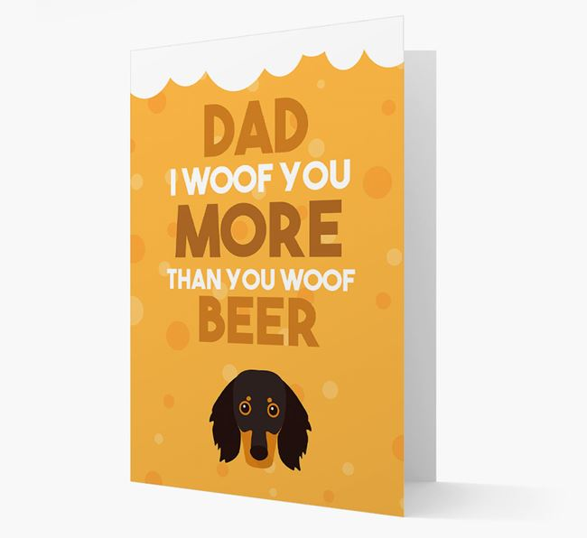 'Woof you more than you woof Beer' Card with Dachshund Icon
