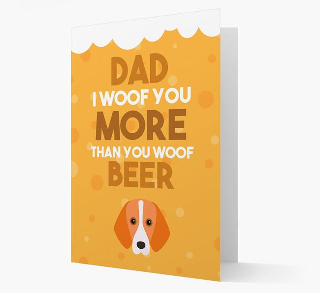 'Woof you more than you woof Beer' Card with Foxhound Icon