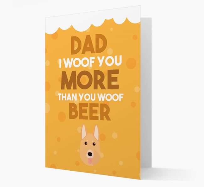 'Woof you more than you woof Beer' Card with German Shepherd Icon