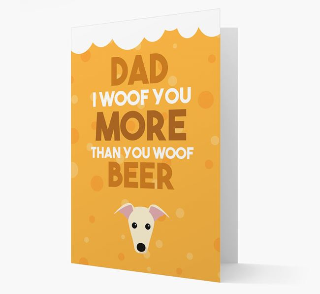 'Woof you more than you woof Beer' Card with Greyhound Icon