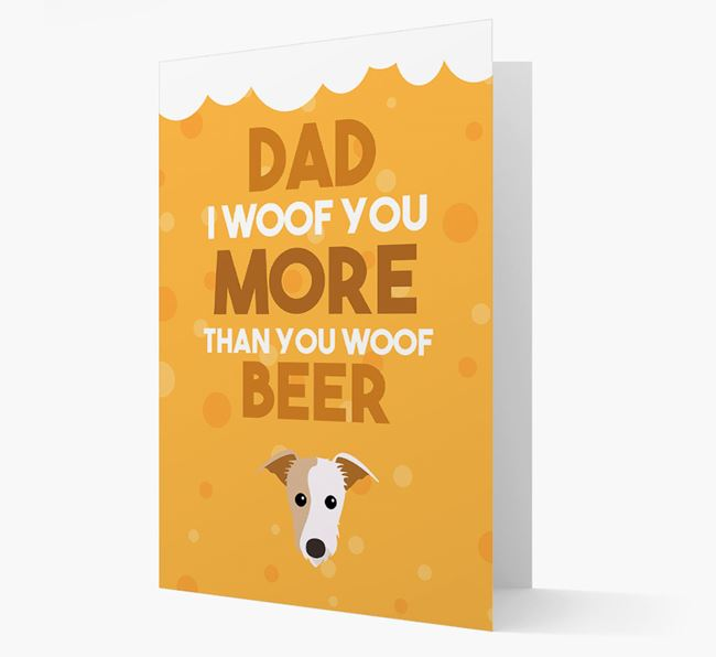'Woof you more than you woof Beer' Card with Lurcher Icon