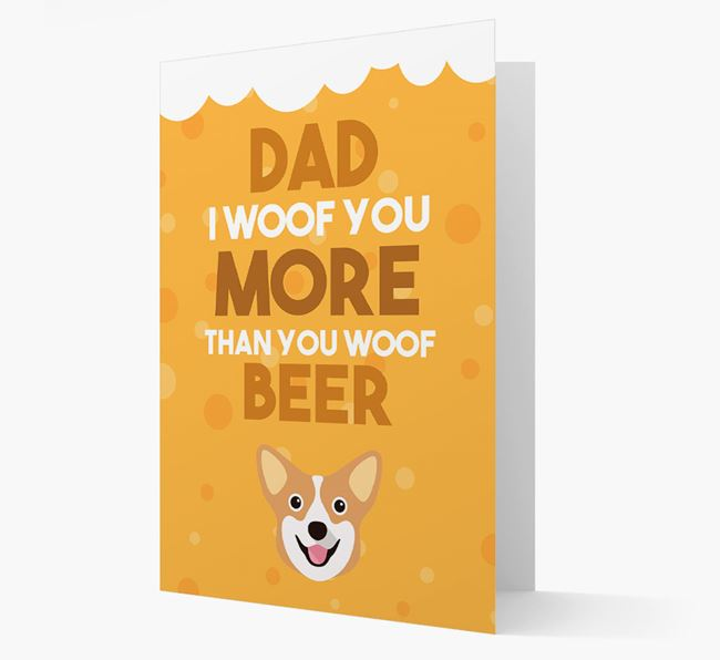 'Woof you more than you woof Beer' Card with Pembroke Welsh Corgi Icon