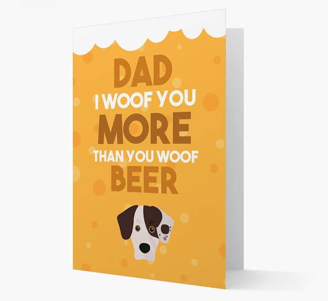 'Woof you more than you woof Beer' Card with Siberian Cocker Icon