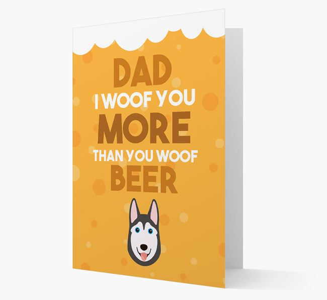 'Woof you more than you woof Beer' Card with Dog Icon