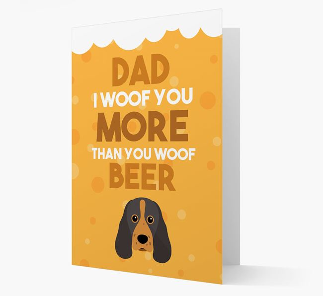 'Woof you more than you woof Beer' Card with Sprocker Icon