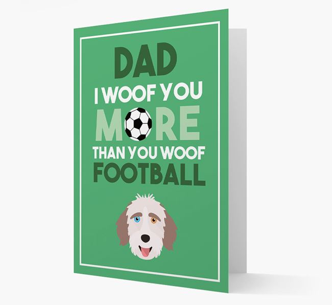 'Woof you more than you woof Football' Card with Aussiedoodle Icon