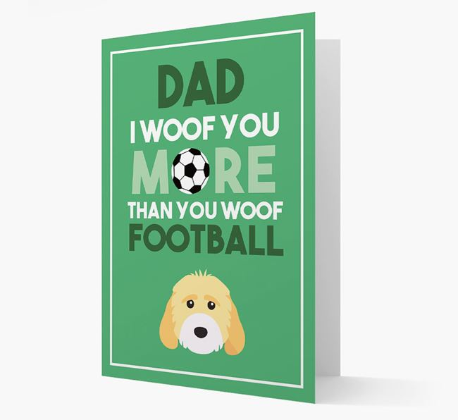 'Woof you more than you woof Football' Card with Cockapoo Icon