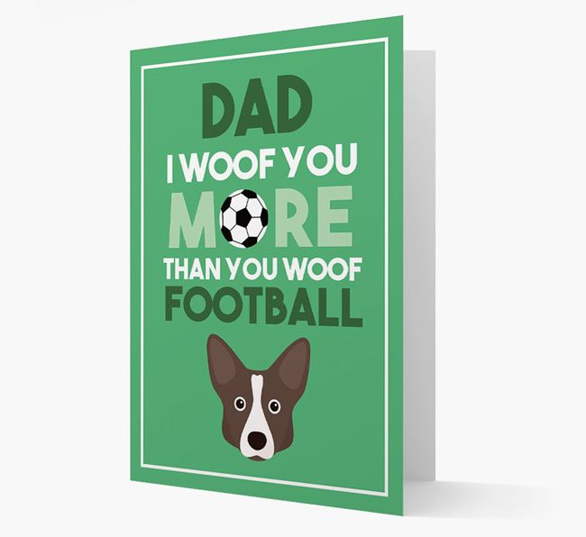 'Woof you more than you woof Football' Card with Corgi Icon