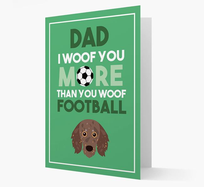 'Woof you more than you woof Football' Card with Doxiepoo Icon