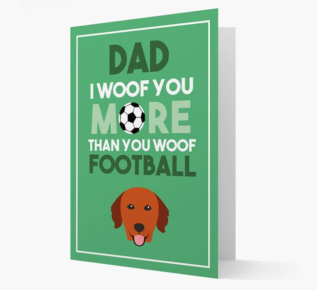 'Woof you more than you woof Football' Card with Golden Retriever Icon