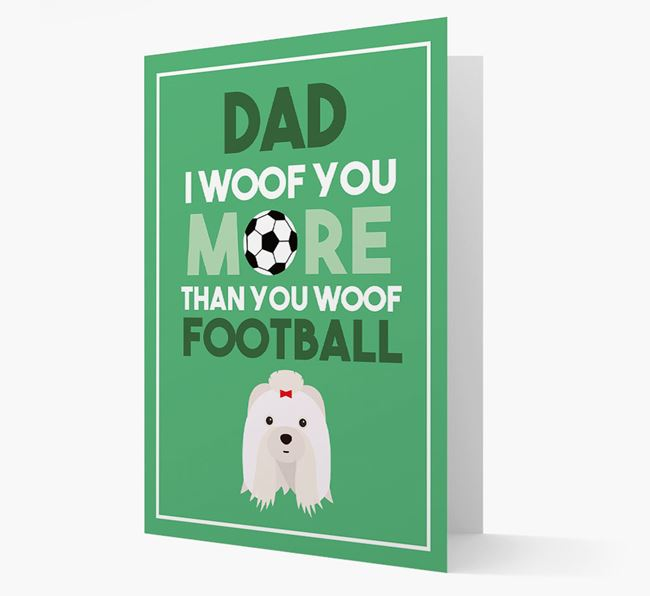 'Woof you more than you woof Football' Card with Shih Tzu Icon