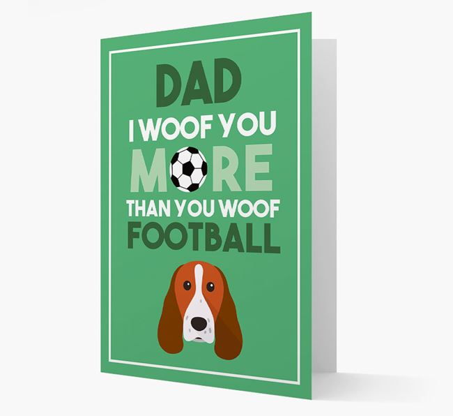 'Woof you more than you woof Football' Card with Springer Spaniel Icon