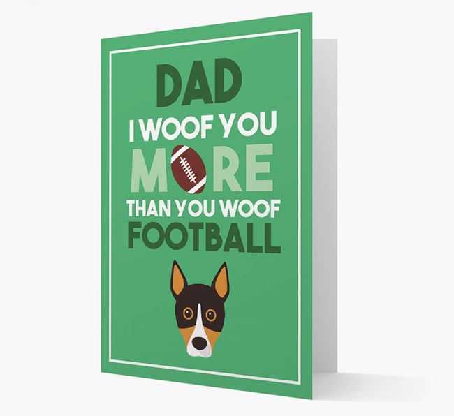 'Woof you more than you woof Football' Card with Basenji Icon