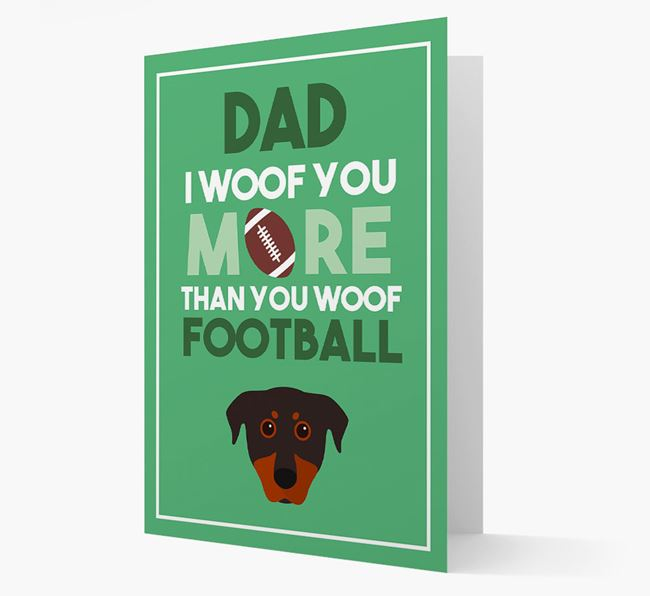 'Woof you more than you woof Football' Card with Beauceron Icon