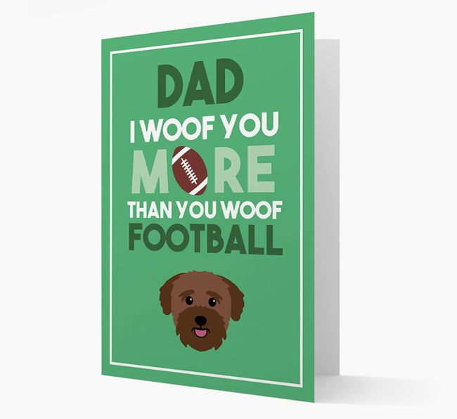 'Woof you more than you woof Football' Card with Bichon Yorkie Icon
